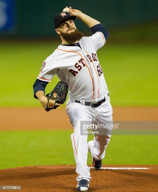 Dallas Keuchel of the Houston Astros pitches in the first inning against the Colorado Rockies at Minute Maid Park on June 15 2015 in Houston Texas