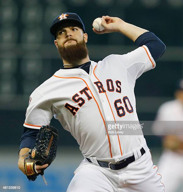 Dallas Keuchel of the Houston Astros pitches in the first inning against the Texas Rangers at Minute Maid Park on July 19 2015 in Houston Texas