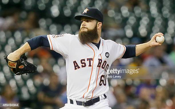 Dallas Keuchel of the Houston Astros pitches in the first inning against the Los Angeles Angels of Anaheim at Minute Maid Park on September 21 2015...