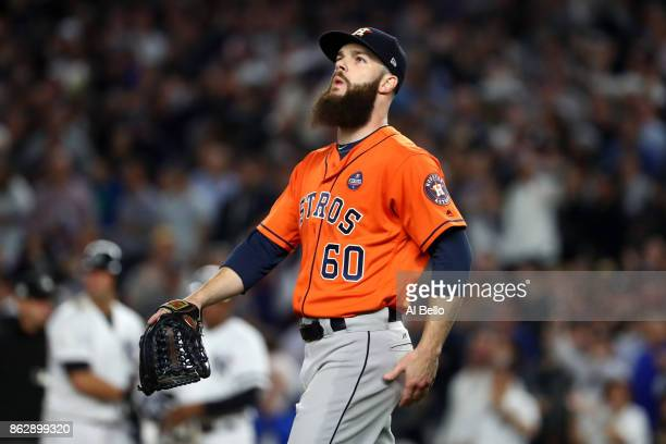Dallas Keuchel of the Houston Astros reacts during the fifth inning against the New York Yankees in Game Five of the American League Championship...