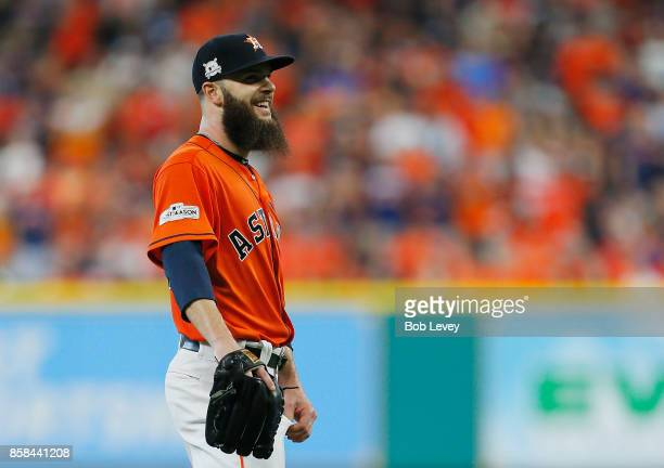 Dallas Keuchel of the Houston Astros reacts in the second inning against the Boston Red Sox during game two of the American League Division Series at...