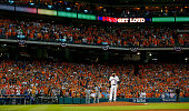 Dallas Keuchel of the Houston Astros stands on the mound at Minute Maid Park on October 11 2015 in Houston Texas