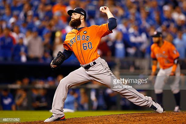 Dallas Keuchel of the Houston Astros throws a pitch in the eighth inning against the Kansas City Royals during game five of the American League...