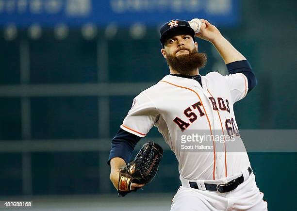 Dallas Keuchel of the Houston Astros throws a pitch in the first inning during their game against the Arizona Diamondbacks at Minute Maid Park on...