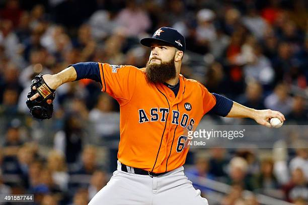 Dallas Keuchel of the Houston Astros throws a pitch in the first inning against the New York Yankees during the American League Wild Card Game at...
