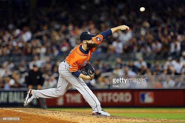 Dallas Keuchel of the Houston Astros throws a pitch in the sixth inning against the New York Yankees during the American League Wild Card Game at...