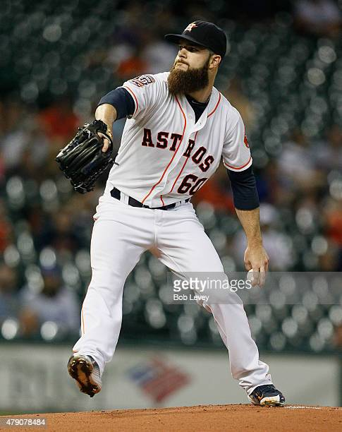 Dallas Keuchel of the Houston Astros throws in the first inning against the Kansas City Royals at Minute Maid Park on June 30 2015 in Houston Texas