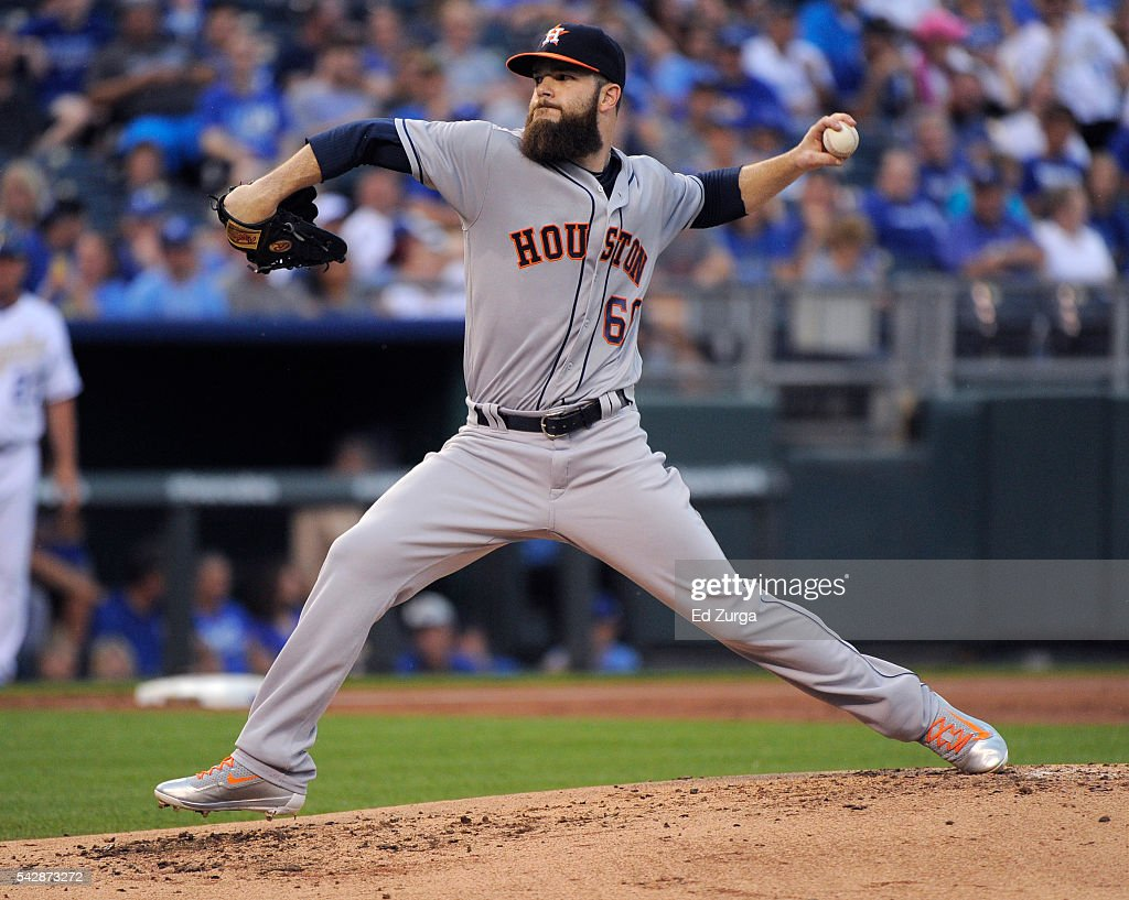 Dallas Keuchel #60 of the Houston Astros throws in the first inning against the Kansas City Royals at Kauffman Stadium on June 24, 2016 in Kansas City, Missouri.