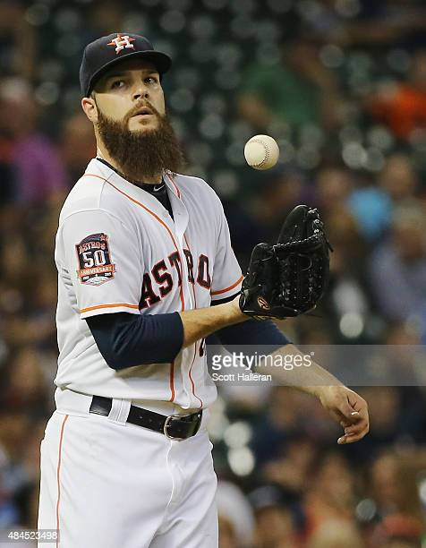 Dallas Keuchel of the Houston Astros waits on the mound in the eighth inning of their game against the Tampa Bay Rays at Minute Maid Park on August...