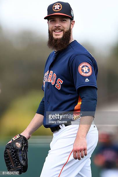 Dallas Keuchel of the Houston Astros walks to the dugout during the second inning of a spring training game against the Atlanta Braves at Osceola...