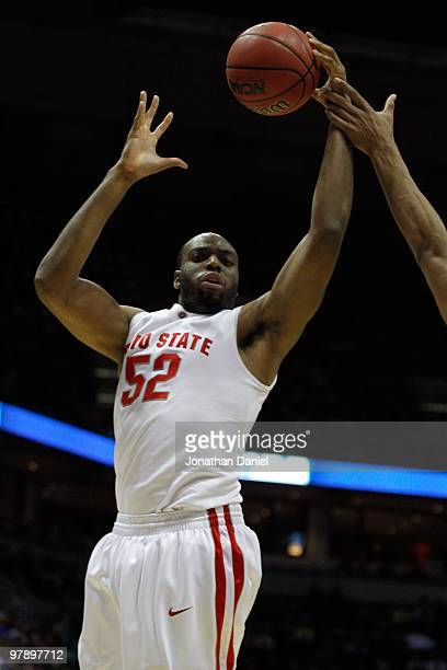 Dallas Lauderdale of the Ohio State Buckeyes rebounds the ball in the second half against the UC Santa Barbara Gauchos during the first round of the...