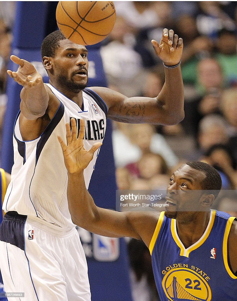 Dallas Mavericks center Bernard James (5) and Golden State Warriors point guard Charles Jenkins (22) battle for control of the ball during the first half of an NBA basketball game at the American Airlines Center in Dallas, Texas, Monday, November 19, 2012.