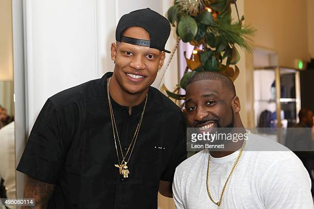 Dallas Mavericks Charlie Villanueva and Raymond Felton attended the Del Toro x Chandler Parsons Launch 20 Collection at Saks Fifth Avenue Beverly...
