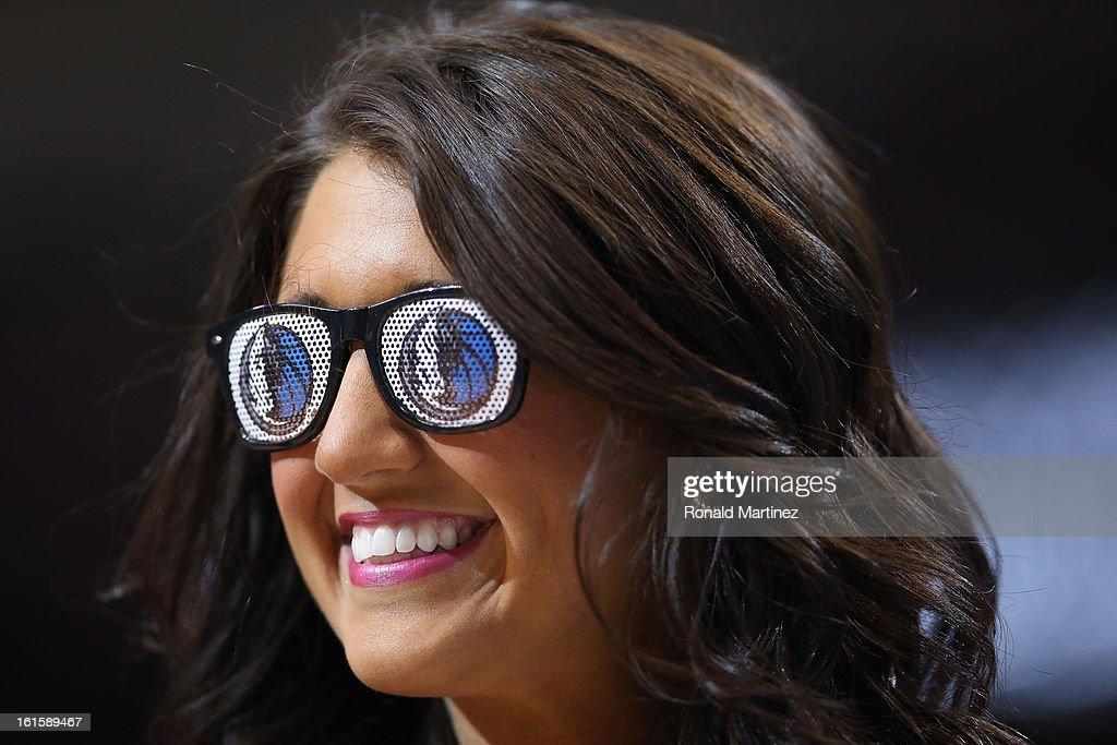 A Dallas Mavericks Dancer wears sunglasses at American Airlines Center on February 11, 2013 in Dallas, Texas.