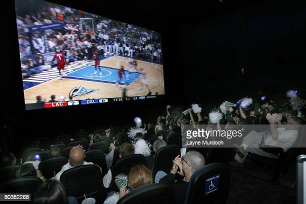 Dallas Mavericks fans watch their team play the Los Angeles Clippers in 3D HD on March 25 2008 at the Magnolia Theatre in Dallas Texas It was only...
