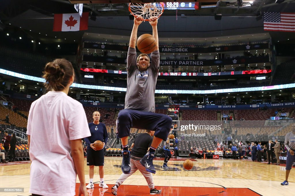 TORONTO, ON- MARCH 13 - Dallas Mavericks forward Dirk Nowitzki (41) dunks during shoot around as the Toronto Raptors beat the Dallas Mavericks 100-78 at the Air Canada Centre in Toronto. March 13, 2017.