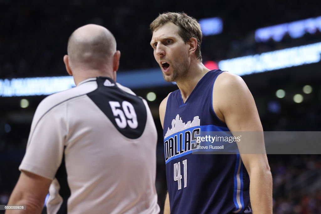 TORONTO, ON- MARCH 13 - Dallas Mavericks forward Dirk Nowitzki (41) questions a cll as the Toronto Raptors beat the Dallas Mavericks 100-78 at the Air Canada Centre in Toronto. March 13, 2017.