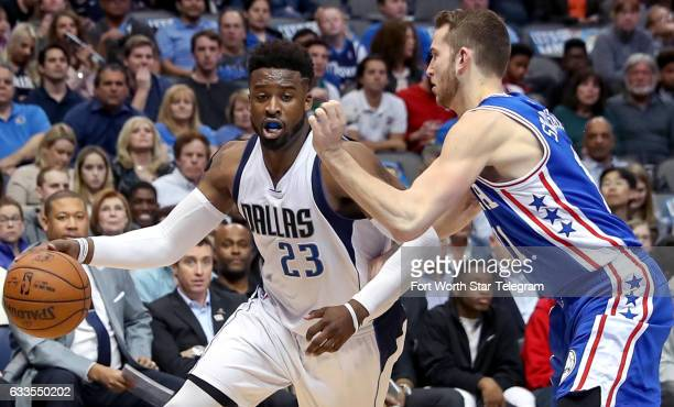 Dallas Mavericks guard Wesley Matthews tries to get around Philadelphia 76ers' Nik Stauskas right during the first half on Wednesday Feb 1 2017 at...