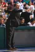 Dallas Mavericks head coach Dick Motta shouts out instructions during a game played in 1995 at Reunion Arena in Dallas Texas NOTE TO USER User...