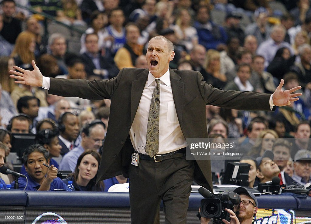 Dallas Mavericks head coach Rick Carlisle protests a call on goal tending, later reversed by the officials, but Carlisle earn a technical anyway on his protest, during the game against the San Antonio Spurs at the American Airlines Center in Dallas, Texas, Friday, January 25, 2013. The Spurs beat the Mavericks 113-107.