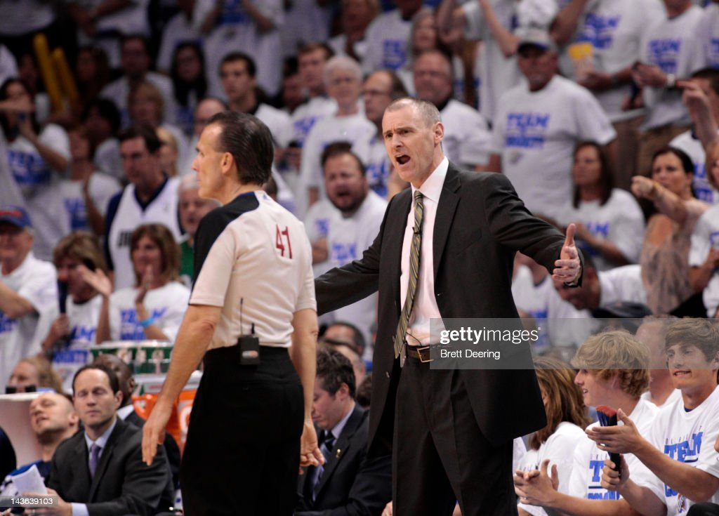 Dallas Mavericks Head Coach Rick Carlisle reacts to a referee in Game Two against the Oklahoma City Thunder in the Western Conference Quarterfinals in the 2012 NBA Playoffs on April 30, 2012 at the Chesapeake Energy Arena in Oklahoma City, Oklahoma. Oklahoma City defeated Dallas 102-99.