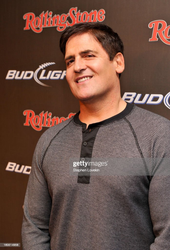 Dallas Mavericks' owner <a gi-track='captionPersonalityLinkClicked' href=/galleries/search?phrase=Mark+Cuban&family=editorial&specificpeople=203295 ng-click='$event.stopPropagation()'>Mark Cuban</a> arrives at the Rolling Stone LIVE party held at the Bud Light Hotel on February 1, 2013 in New Orleans, Louisiana.