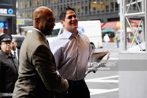 Dallas Mavericks owner Mark Cuban arrives to NBA labor negotiations at Sheraton New York Hotel Towers on October 18 2011 in New York City