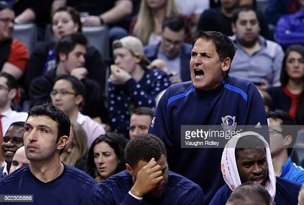 Dallas Mavericks Owner Mark Cuban shouts from the bench during an NBA game against the Toronto Raptors at the Air Canada Centre on December 22 2015...