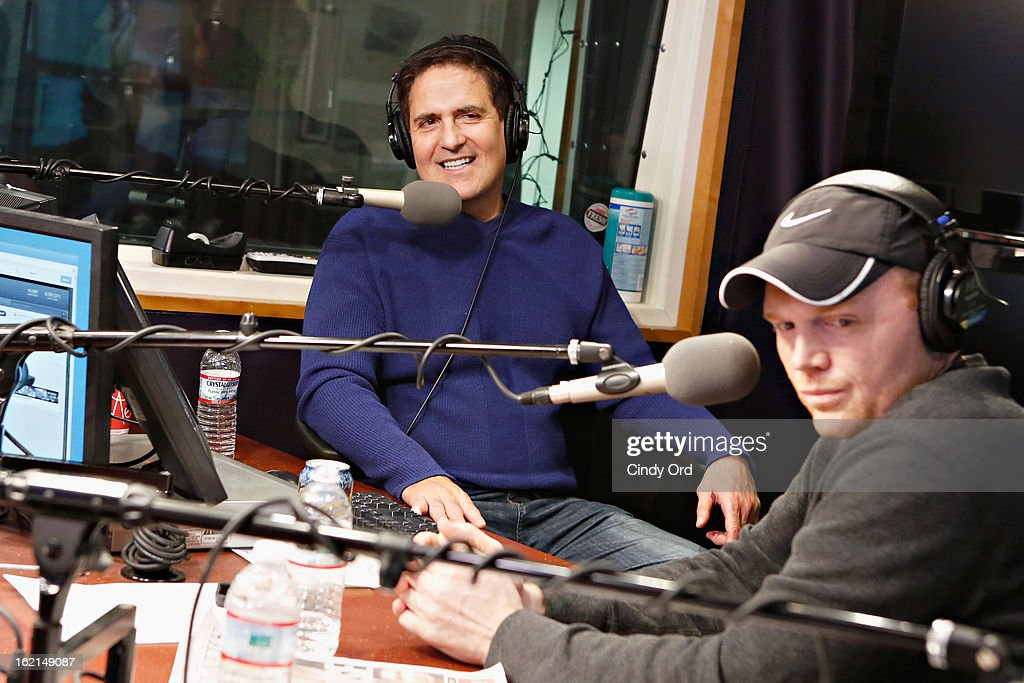 Dallas Mavericks owner/ TV personality Mark Cuban and comedian Bill Burr visit 'The Opie & Anthony Show' at the SiriusXM Studios on February 19, 2013 in New York City.