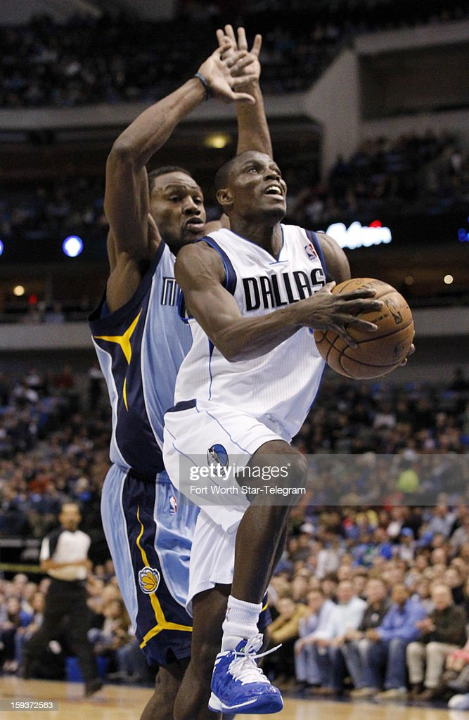 Dallas Mavericks point guard Darren Collison (4) drives to the basket, as Memphis Grizzlies shooting guard Tony Allen (9) tries to defend, in the first quarter at the American Airlines Arena in Dallas, Texas, Saturday, January 12, 2013.