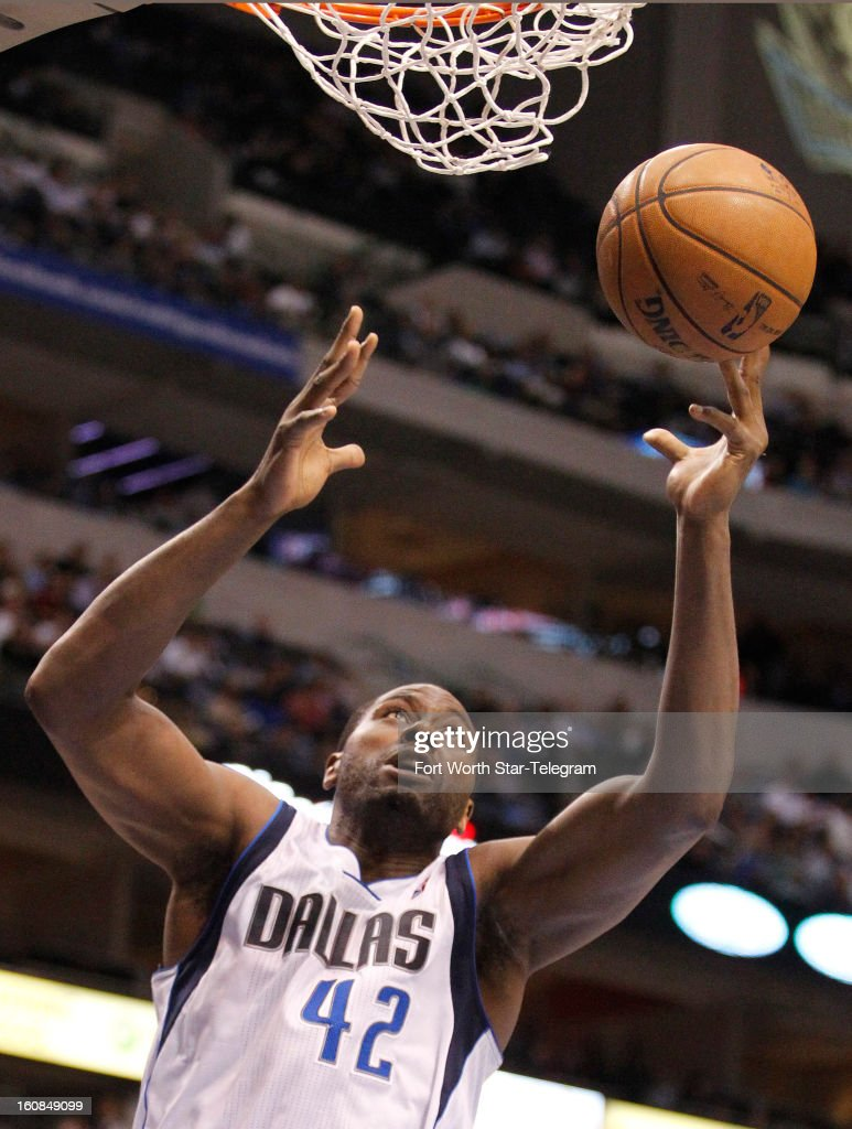 Dallas Mavericks power forward Elton Brand (42) scores in the first quarter against the Portland Trail Blazers in Dallas, Texas, Wednesday, February 6, 2013.