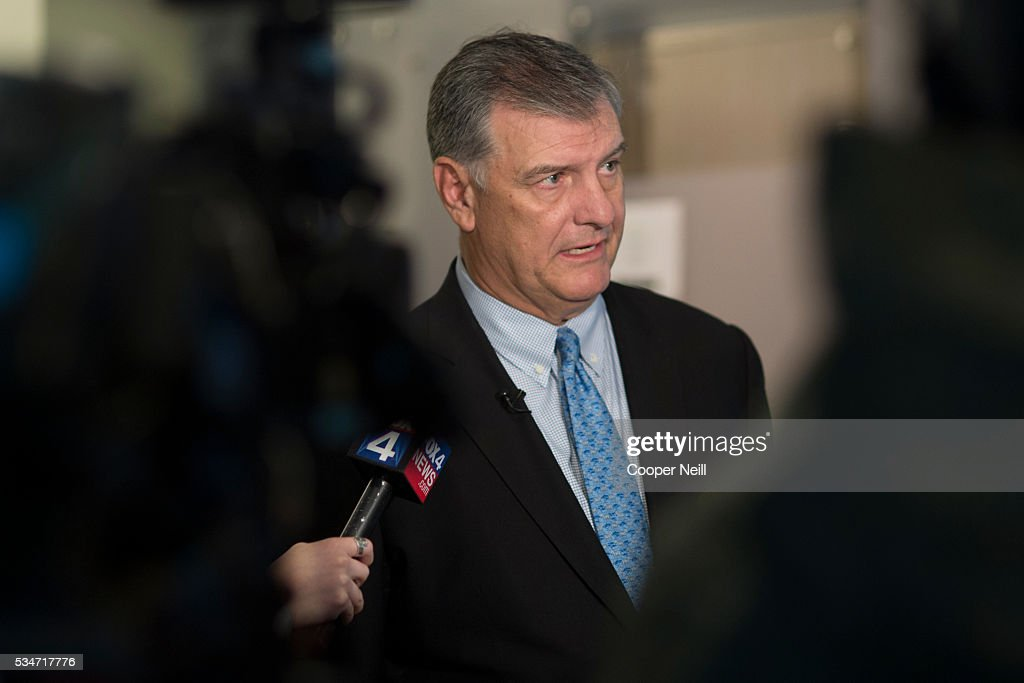 Dallas Mayor Mike Rawlings speaks to the media after the Neighbor Up news conference at UNT Dallas on May 27, 2016 in Dallas, Texas.
