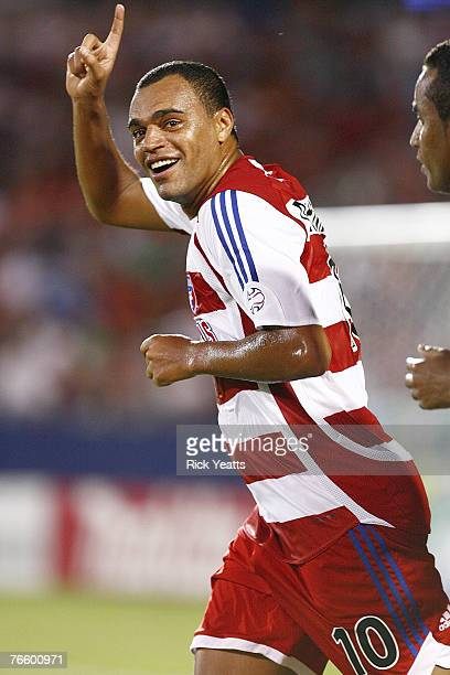 Dallas midfielder Denilson celebrates his first goal as a player for FC Dallas during the FC Dallas game against Toronto FC on September 8 2007 at...
