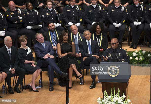 Dallas Police Chief David Brown delivers a speech during a memorial service for the victims of the Dallas police shooting at the Morton H Meyerson...