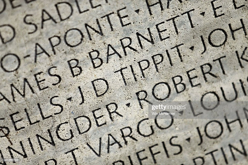 Dallas Police Officer J.D. Tippit's name is shown carved into the National Law Enforcement Officers Memorial November 22, 2013 in Washington, DC. Tippit was shot and killed by Lee Harvey Oswald when the police officer stopped to question Oswald following the assassination of U.S. President John F. Kennedy 50 years ago today.