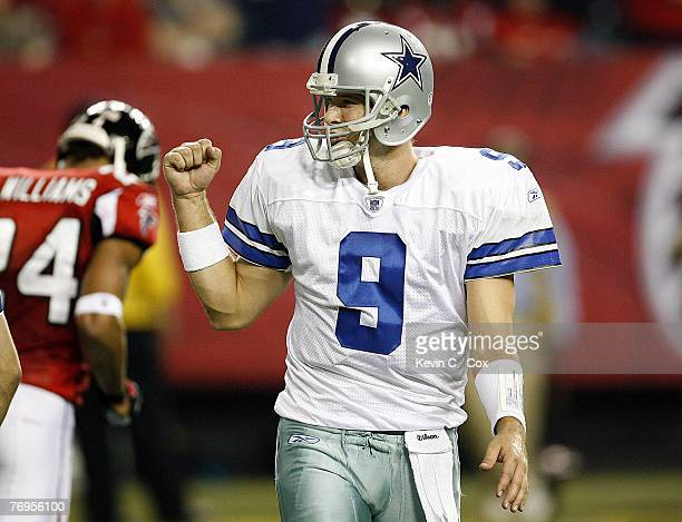 Dallas quarterback Tony Romo reacts after a successful extra point during the second half of the Cowboys 3828 win over Atlanta Saturday December 16...