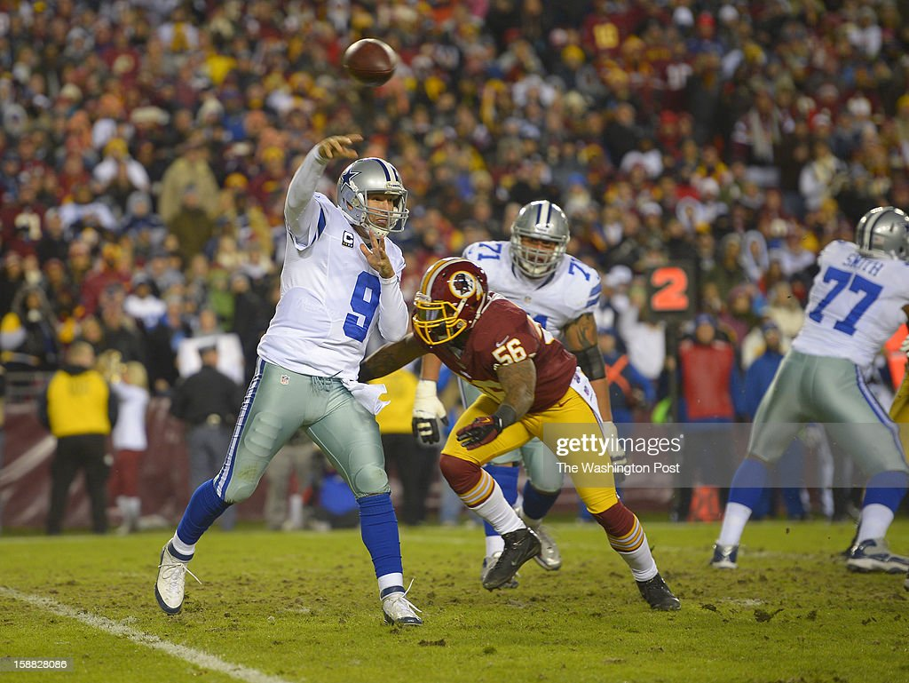 Dallas quarterback Tony Romo (9) throws under pressure from Washington inside linebacker Perry Riley (56) in the second quarter as the Washington Redskins play the Dallas Cowboys for first place of the NFC East division and a playoff spot at FedEx in Landover MD, December 30, 2012 .