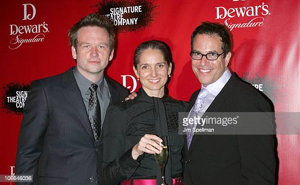 Dallas Roberts Michael Mayer and guest attend the Signature Theatre Company's 20th Anniversary Gala at Espace on November 8 2010 in New York City