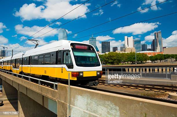 Dallas skyline and DART Light Rail train