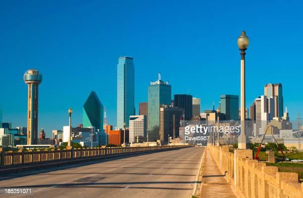 Dallas skyline and street bridge