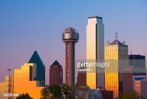 Dallas Skyline closeup at Sunset
