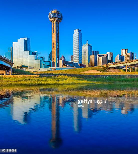 Dallas Skyline Over Water Reflection in Daylight with Cityscape Skyscrapers
