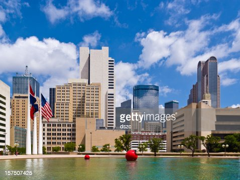 Dallas skyline viewed from reflecting pool