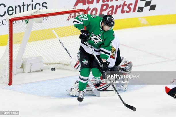 Dallas Stars Center Cody Eakin tips the shot just wide during the NHL hockey game between the Ottawa Senators and Dallas Stars on March 8 2017 at the...