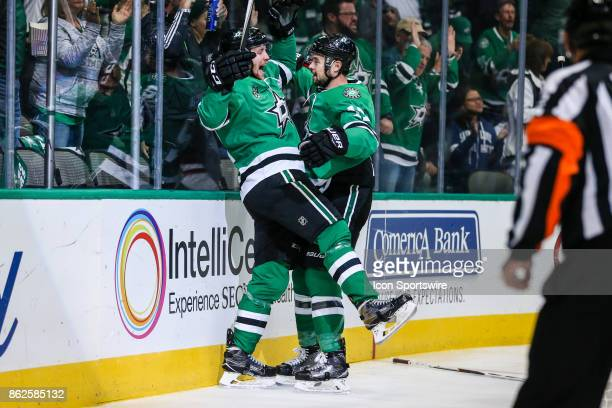Dallas Stars center Radek Faksa celebrates with center Devin Shore after scoring a goal over Arizona Coyotes goalie Adin Hill during the first period...