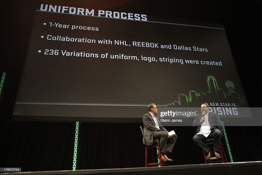 Dallas Stars Commentator Daryl Reaugh interviews Stars Owner Tom Gaglardi on the process of developing the new Stars Uniform at the Dallas Stars unveiling of their new logo and uniforms at the AT&T Performing Arts Center on June 4, 2013 in Dallas, Texas.
