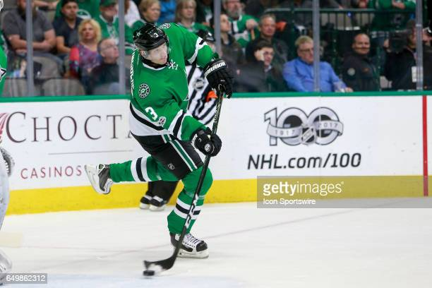 Dallas Stars Defenceman John Klingberg clears the puck during the NHL hockey game between the Ottawa Senators and Dallas Stars on March 8 2017 at the...
