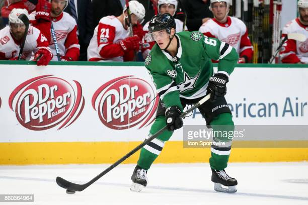 Dallas Stars Defenceman Julius Honka handles the puck at the blue line during the NHL game between the Detroit Red Wings and Dallas Stars on October...