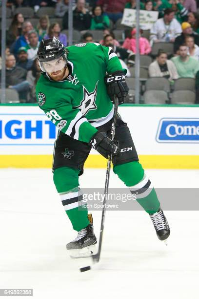 Dallas Stars Defenceman Stephen Johns handles the puck during the NHL hockey game between the Ottawa Senators and Dallas Stars on March 8 2017 at the...