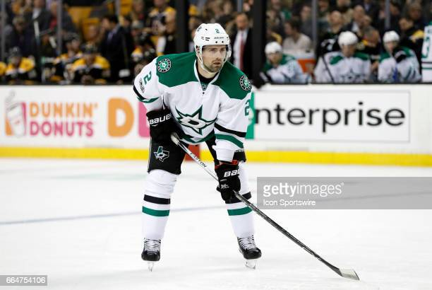 Dallas Stars defenseman Dan Hamhuis gets set for an offensive zone face off during a regular season NHL game between the Boston Bruins and the Dallas...